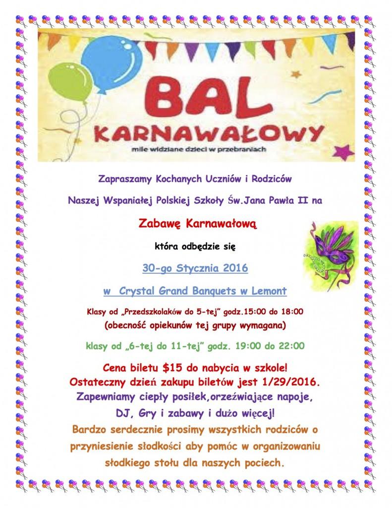 BAL KARNAWALOWY 2016